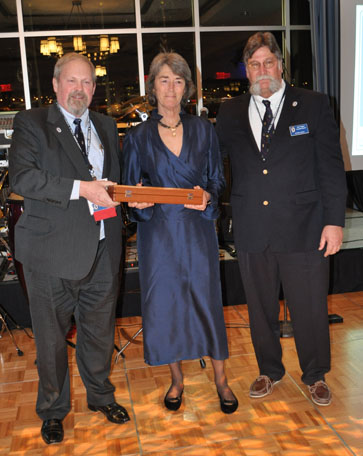 Captain Deborah Hayes, Sail Trainer of the Year (center) with M. Rauworth and B. Rogers