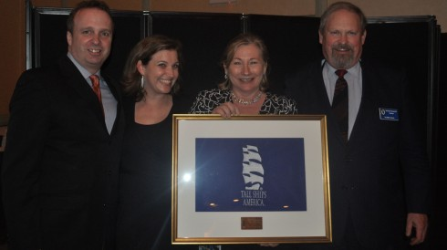 Port City of the Year, accepted by Shirley Roberts(center) of Tall Ship(R) Celebration:Bay City. From L to R: Colin McLean (Halifax, Port of the Year 2012), Erin Short TSC Manager, Shirley Roberts, Mike Rauworth, Tall Ships America Chairman