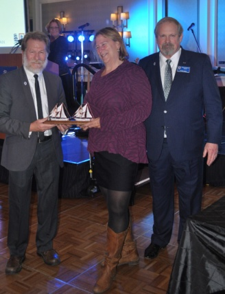 Sea Education Program of the Year- Sea Education Association's Sea Semester(R): The Global Ocean, accepted by SEA Ex.Dir. Peg Brandon (c). Captain Rick Miller (l), Mike Rauworth (r)