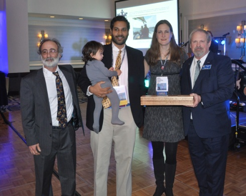 Sail Trainer of the Year, Captain Aaron Singh (with adorable child). Left - Captain Richard Dorfman; Near right - Anne Beaumont; Far right-Mike Rauworth