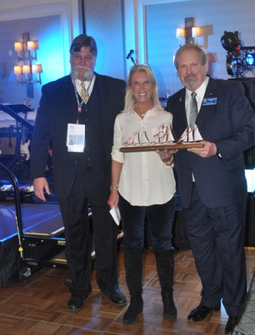 Lifetime Achievement Award winner, Alix Thorne (c). Tall Ships America Ex.Dir. Bert Rogers (l), Mike Rauworth (r)
