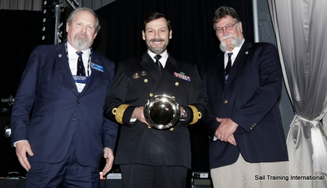 Captain Mendes accepts the Perry Bowl on behalf of SAGRES Photo Credit Sail Training International