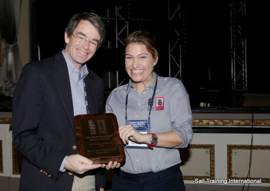 A. Agnew accepting on behalf of Iberdrola USA Tall Ships(R) Portland Photo Credit Sail Training International