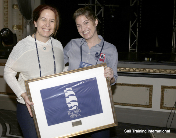 Tracy Kirby, 2014 Port of the year recipient for Toshiba Tall Ships(R) Festival accepts the award on behalf of Greenport Photo Credit Sail Training International